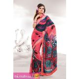 Matwali Cerise Pink And Stylish Pallu Design Printed Georgette Saree
