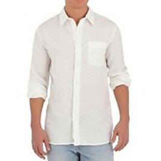 Linen Cotton Full Sleeve Shirt ( White )