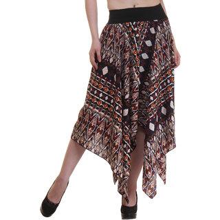 Ruhaans Brown Crepe Printed Maxi Skirt