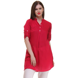 Ruhaans Red Rayon V-Neck Half Sleeve Solid Tunic