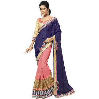 Manvaa purple color fauxgeorgetteembroidered half and half designer womens saree