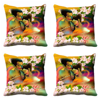 meSleep 3D Multi Colour Couple Cushion Cover (16x16)