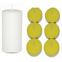 Craffto Pillar 3 X 6 White + 6 Scented Tea Light Candles LEMONGRASS Festive Decor Candle