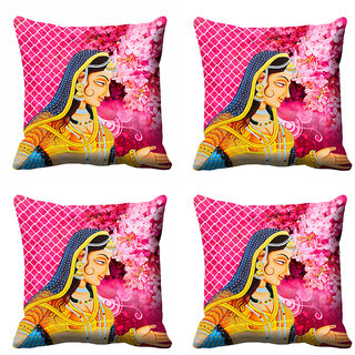 meSleep Beautiful Floral Queen Cushion Cover (16x16)