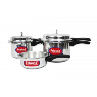 The Kitchen Store Starting @ Rs.65 By Shopclues | FABIANO ISI - Aluminium Pressure Cooker (Set Of 3) 2L + 3L + 5L cookers with 2 Lids @ Rs.999