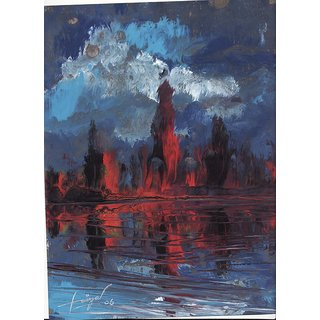 Original Abstarct Painting Title - Eruption on the banks  - Acrylic on paper