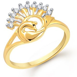 VK Jewels Fabulous Mayur Gold And Rhodium Plated Ring