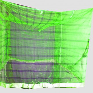 shiv green light blue line mosquito net single bed 8.8