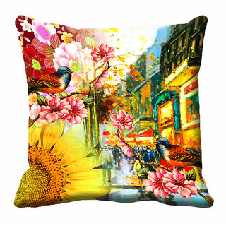 meSleep 3D Beautiful Floral Cushion Cover (16x16)