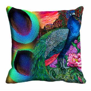 meSleep 3D Peacock Nature Cushion Cover (16x16)
