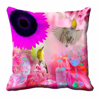meSleep 3D Pink Colour Nature Cushion Cover (16x16)