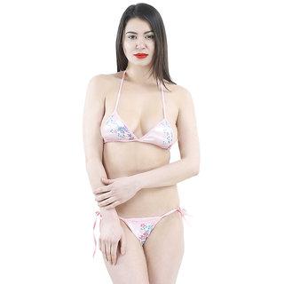 AAYAN BABY Pink Floral Viscose Mini Bikini Set