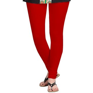 Womens Cotton Lycra Churidar Leggings - (Red)