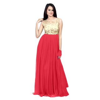 Ethnicbasket Pink Georgette Semi Stitched Gown