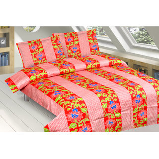 FNKY Red Cotton Floral Double Bedsheet With 2 Pillow Cover