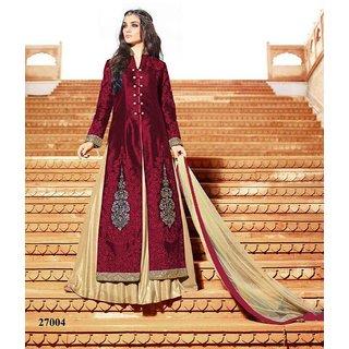 Thankar Mroon  Cream Embroidered Banglori Silk Straight Suit