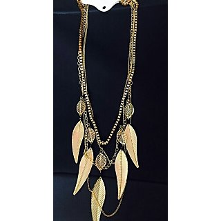 Stylish leaf themed multi chain gold toned beautiful fashion neckpiece