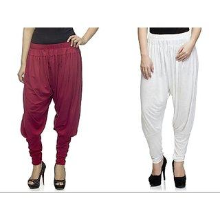 Dee Fashion House Pack of 2 Viscose Lycra Jodhpurs- Maroon and White