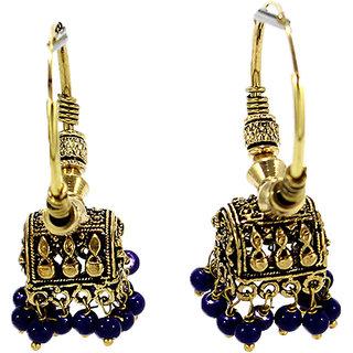 Hut Shape Blue Beads Oxidized Bali Jhumki