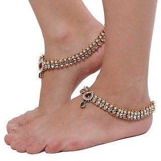 Shining Diva Pair Of Traditional Kundan Anklets
