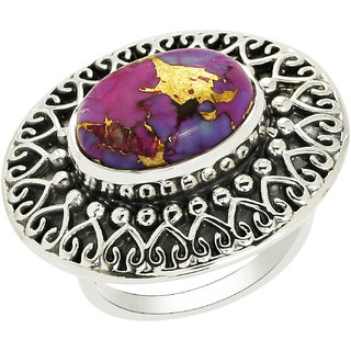 Shine Jewel Party wear Purple American Turquoise Gemstone 925 Silver Ring