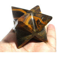 Tiger Eye Merkaba Star Large Crystal Sacred Geometry Reiki Point 8 Healing