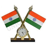 Indian Flag with Clock for Office Home and Car dashboard