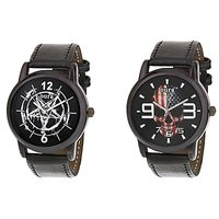 Oura-Co-254 Analog Round Casual Wear Watch For Men Pack Of 2pc