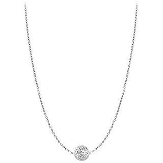 Diamond Necklace In 18K White Gold Bezel Set 0.25 Ct.Tw