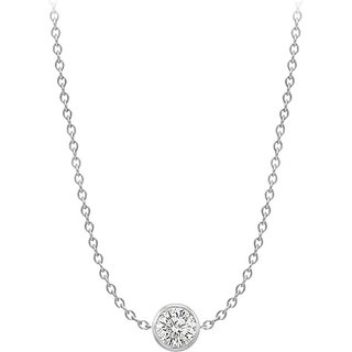 Diamond Necklace In 14K White Gold Bezel Set 0.75 Ct.Tw