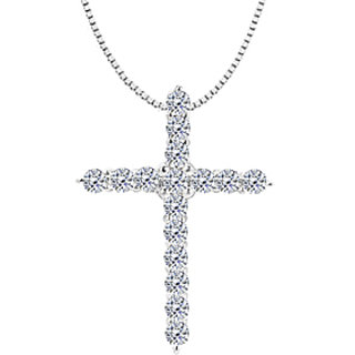 Diamond Cross Necklace In 14K White Gold 0.30 Ct Diamonds