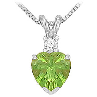 Pretty 14K White Gold & Diamond Peridot Solitaire Pendant-1.00 Ct