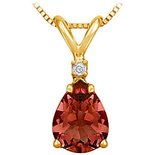 14K Yellow Gold & Diamond Garnet Solitaire Pendant- 1.00 Ct