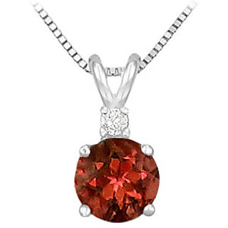 14K White Gold & Diamond Garnet Solitaire Pendant-1.00 Ct