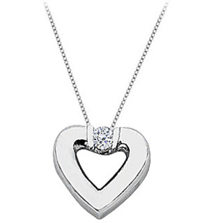 Diamond Heart Pendant Necklace In 14K White Gold 0.10.Ct.Tw