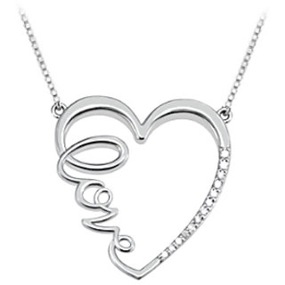 Diamond Heart Love Infinity Necklace In 14K White Gold Quarter Ct Diamonds
