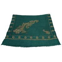 Sofias Exlusive 100 Pure Pashmina Hand Made Hand Wooven  Hand Embroidered Large Shawl (100 Cms X 200 Cms) Dark Green Emzsspashminash1