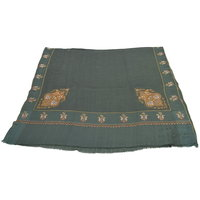 Sofias Exlusive 100 Pure Pashmina Hand Made Hand Wooven  Hand Embroidered Large Shawl (100 Cms X 200 Cms) Green Emzsspashminash2