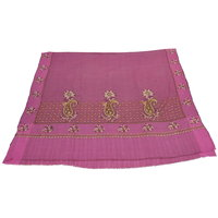 Sofias Exlusive 100 Pure Pashmina Hand Made Hand Wooven  Hand Embroidered Large Shawl (100 Cms X 200 Cms) Pink Emzsspashminash5