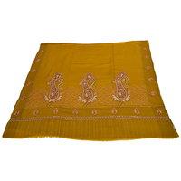 Sofias Exlusive 100 Pure Pashmina Hand Made Hand Wooven  Hand Embroidered Large Shawl (100 Cms X 200 Cms) Mustard Yellow Emzsspashminash6