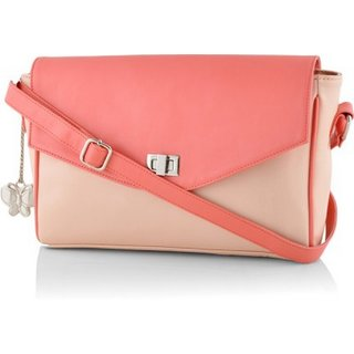 Butterflies Women Peach Sling Bag