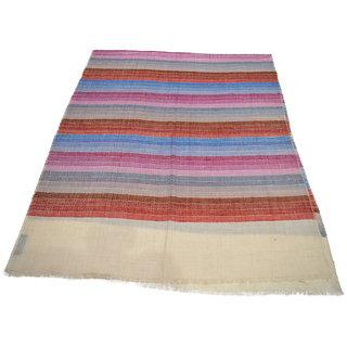 Sofias Exclusive Pure 100 Pashmina Hand Made and Hand Woven Medium Shawl (70 cms x 200 cms) Offwhite / Mutlicolor emzsspashminast70
