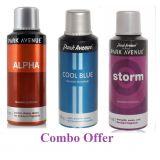 Combo Of Park Avenue Alpha Deo Spray 150 Ml For Men  Park Avenue Cool Blue Deo Spray 150 Ml For Men  Park Avenue Storm Deo Spray 150 Ml For Men
