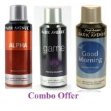 Combo Of Park Avenue Alpha Deo Spray 150 Ml For Men  Park Avenue Game Deo Spray 150 Ml For Men  Park Avenue Good Morning Deo Spray 150 Ml For Men
