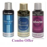 Combo Of Park Avenue Cool Blue Deo Spray 150 Ml For Men  Park Avenue Good Morning Deo Spray 150 Ml For Men  Park Avenue Storm Deo Spray 150 Ml For Men