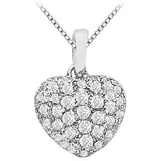 Diamond Puffed Heart Pendant With Half Ct Diamonds In 14K White Gold
