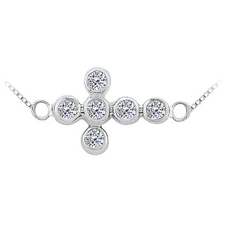 Diamond Sideways Cross Necklace In 14K White Gold 0.20 Ct Diamonds Bezel Setting