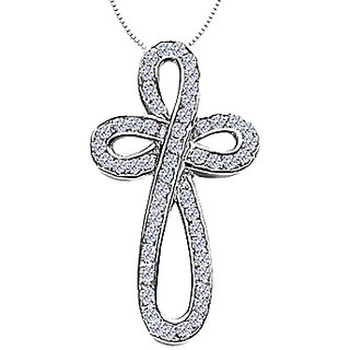 Diamond Ribbon Loop Cross Necklace In 14K White Gold 0.55 Ct Diamonds