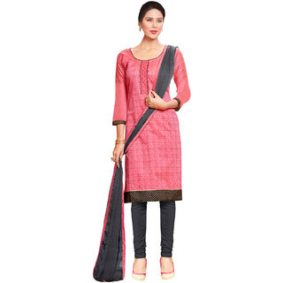 Sareemall Pink Cotton Printed Salwar Suit Dress Material