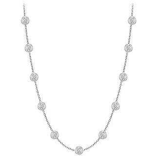 Stylish Diamonds Necklace In 14K White Gold Bezel Set 0.33 Ct.Tw